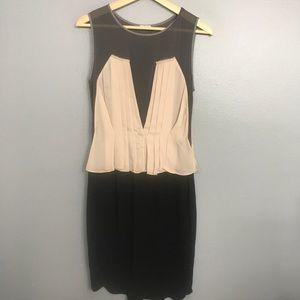 L'AGENCE   silk blend blush black pleated dress 4